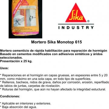 Monotop 615 Sika X 25 Kg  Morteros Listo Para Usar