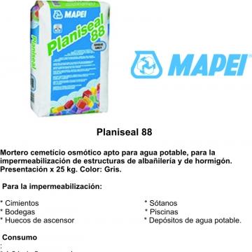 Mortero Mapei Planiseal 88 X 25 Kgs. Gris