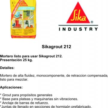 Sikagrout 212 25 Kg Morteros Listo Para Usar