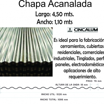 Chapa Cincalum  4,50 M