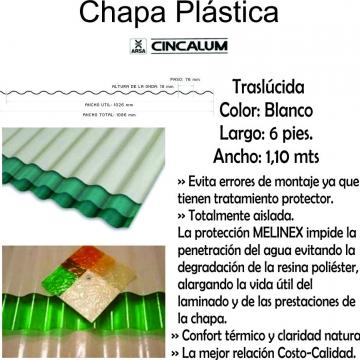 Chapa Plastica  1,80 Mts X 1,10 Mts Blanca