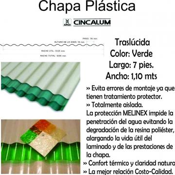 Chapa Plastica  2,10 Mts X 1,10 Mts Verde
