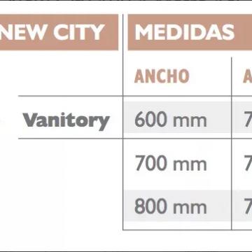 Vanitory Water Van City New 70 Con Mesada Loza Wengue Y Blanco