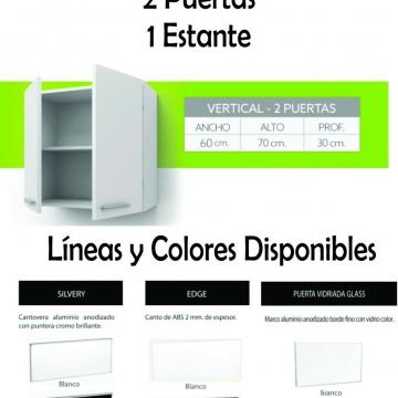 Alacena Itar Edge 0,60 2 Puertas Blanca