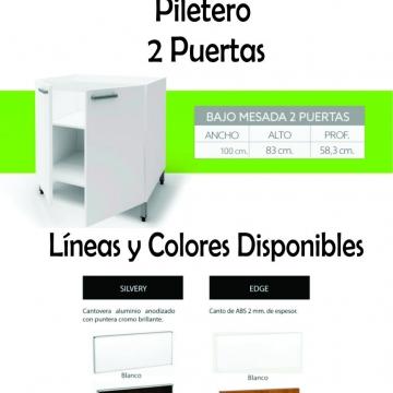 Bajo Mesada Itar Edge 1,00 2 Puertas Blanco