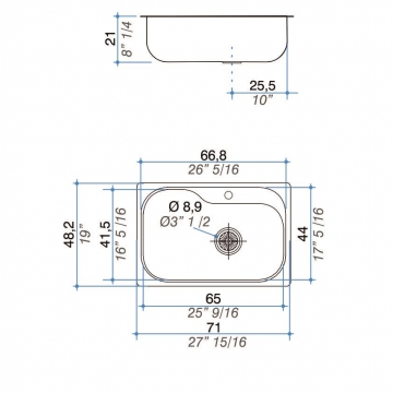 Pileta Acero Inoxidable Johnson Luxor Si71 Sta 71X48.2X21