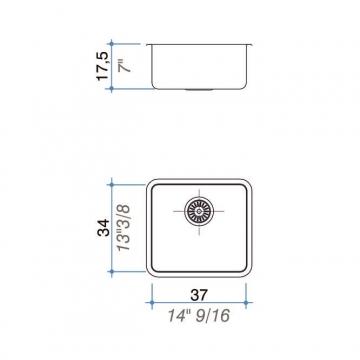 Pileta Acero Inoxidable Johnson Q 37 Cr 37X34X17,5
