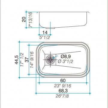 Pileta Acero Inoxidable Johnson E60 60X37X20 Simple