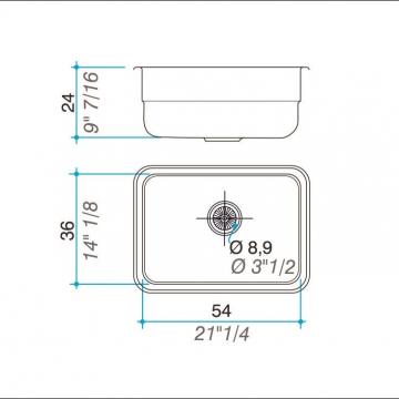 Pileta Acero Inoxidable Johnson E54 54X36X24 Simple