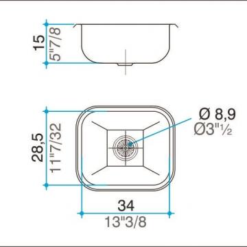 Pileta Acero Inoxidable Johnson E28 34X28.5X15