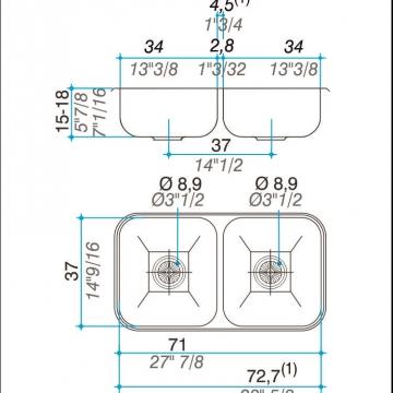 Pileta Acero Inoxidable Johnson C37 70 X 37 Doble