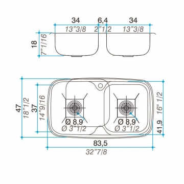 Pileta Acero Inoxidable Johnson Zara D84 A 83.5 X 4 Doble