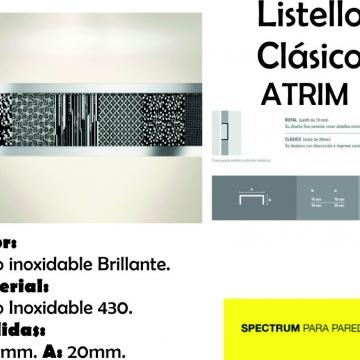 Varilla Listello Acero Atrim 430/02 Brillante 20 mm Clasico