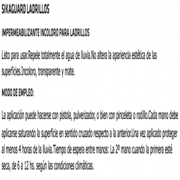 Sika Sikaguard Ladrillos X 4 Lts.
