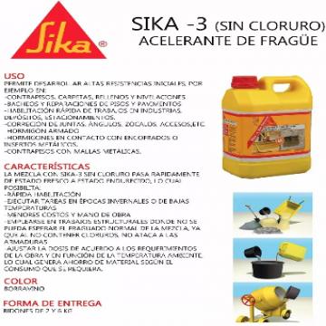 Sika 3 Sin Cloruro X 2 Kgs Acelerante Frague