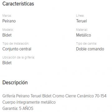 Juego Bidet Peirano Teruel Cierre Cerramico 70-154