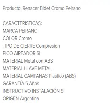 Juego Bidet Peirano Renacer 70-002 Cr.