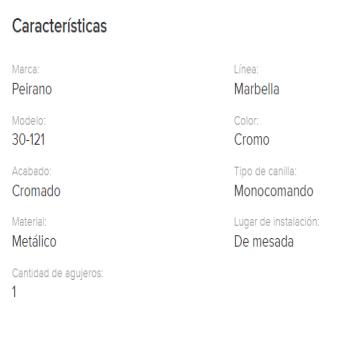 Juego Cocina  Mesada Peirano Marbella Pico Cuadr. 30-121 Cr