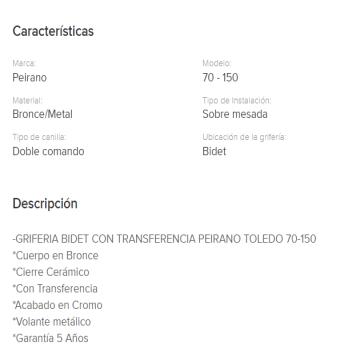 Juego Bidet Peirano Toledo Cierre Cerramico 70-150
