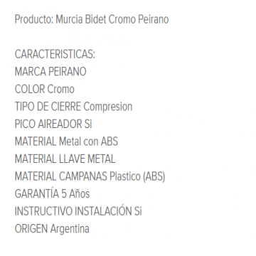 Juego Bidet Peirano Murcia 315 Cr.