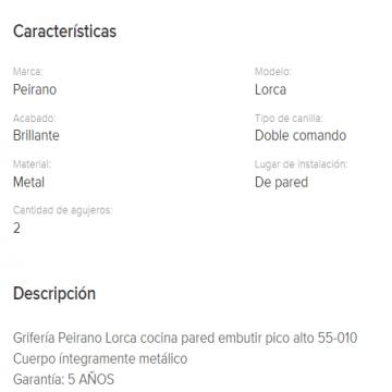 Juego Cocina Pared Embutir Peirano Lorca Pico Alto 55-010 Blanco Cr.