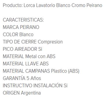 Juego Lavatorio Peirano Lorca 60-010 Blanco Cromo