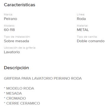 Juego Lavatorio Peirano Roda 60-118 Cr