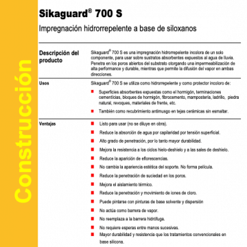 Impermeabilizante Sika Sikaguard 700 S X 20 Lts.