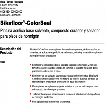 Pintura Sika Sikafloor Color Seal X 20 Lts. 101685
