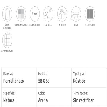 Porcelanato Esmaltado San Lorenzo Terraferma 57,7x57,7 Cj. 1,33 Arena