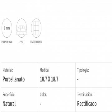 Porcelanato Esmaltado San Lorenzo Volta Monocromo 18,5X18,5 Cj ,55 Mt Bco-Ng