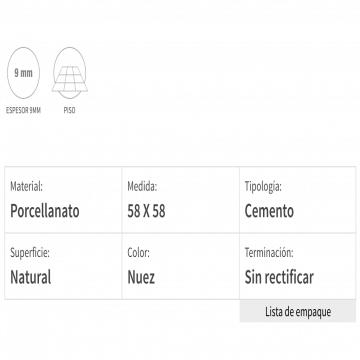 Porcelanato Esmaltado San Lorenzo City Boston 58X58 Cj.1,35 Nuez