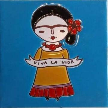 Azulejo Pintado A Mano Frida Niña celeste 15x15 cm Pared/piso