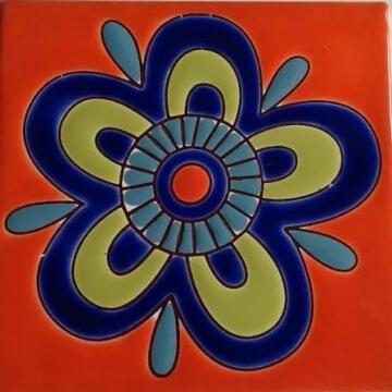 Azulejo Pintado A Mano Mandala Naranja 15 x 15 cm. Pared O Piso