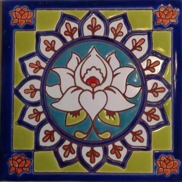 Azulejo Pintado A Mano Flor De Loto 15 x15 cm. Pared/piso
