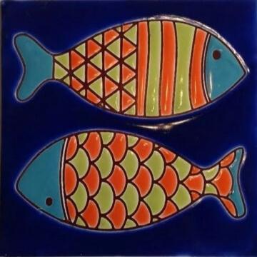 Azulejo Pintado A Mano Peces fondo Azul 15 x 15 cm Pared/piso