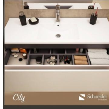 Vanitory Colgante 60 cm Blanco City Pvc Schneider. Incluye mesada de losa con 3 agujeros