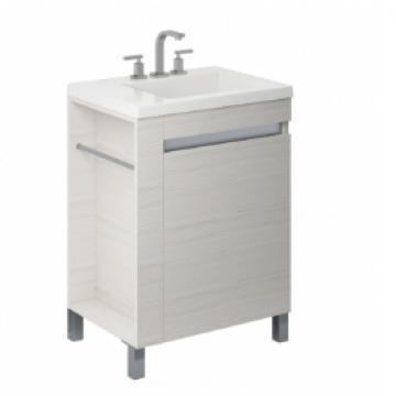 Vanitory 60 Cm Blanco Texturado Aqua Schneider. Incluye mesada de marmolina monocomando