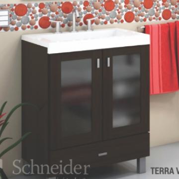 Vanitory 40 cm Blanco Terra Vetro Schneider. Incluye mesada de marmolina 3 agujeros