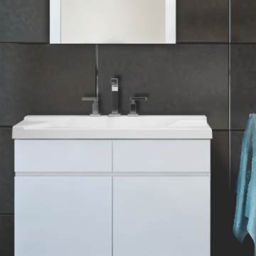 Vanitory Colgante 80 cm Laqueado Blanco Satinado Atenas Schneider. Incluye mesada marmolina monocomando