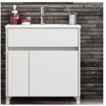 Vanitory 50 cm Blanco Brillante Nature Schneider. Incluye mesada marmolina monocomando