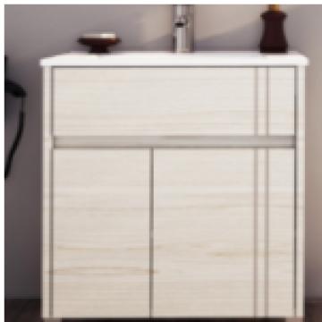 Vanitory 50 Cm Blanco Texturado Nature Schneider. Incluye mesada marmolina monocomando