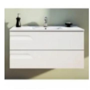 Vanitory 60 cm Blanco Rivo Schneider. Incluye mesada marmolina 3 agujeros